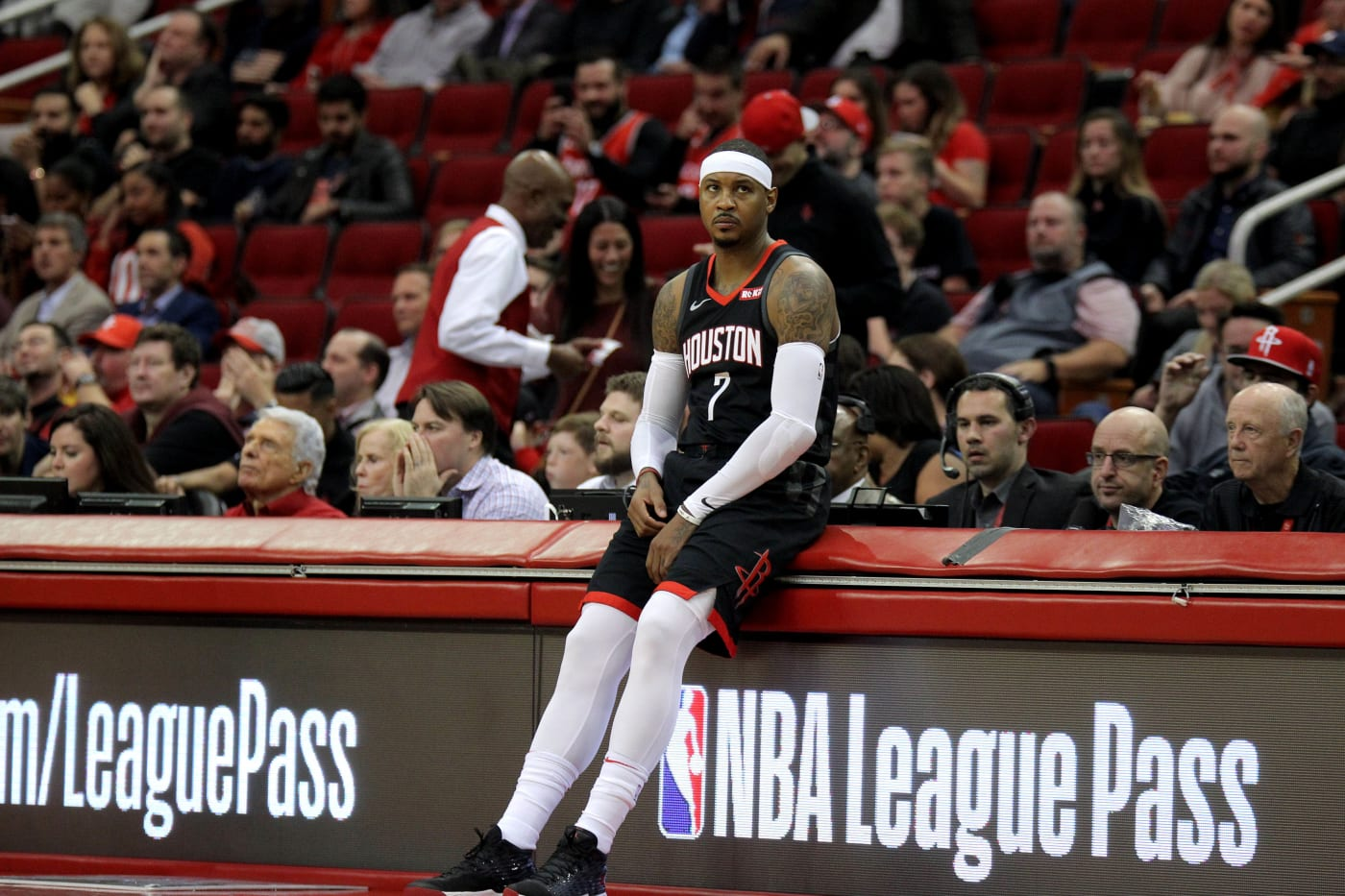 Carmelo Anthony Scorer's Table Rockets 2018