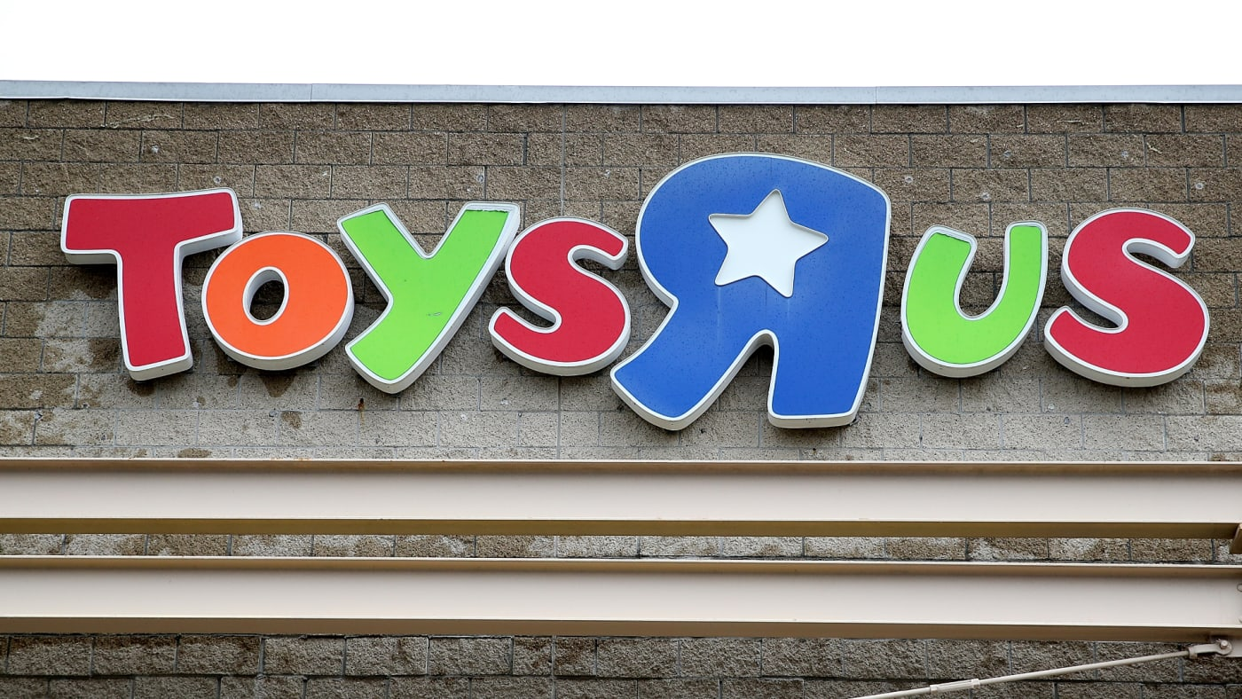 The Toys R Us logo is displayed on the exterior of a store on March 15, 2018 in Emeryville, California.