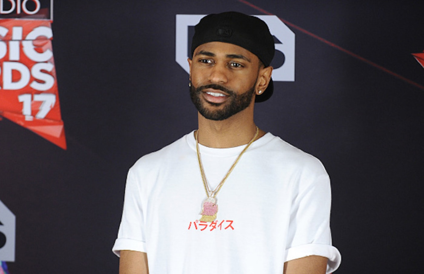 Rapper Big Sean poses in the press room at the 2017 iHeartRadio Music Awards
