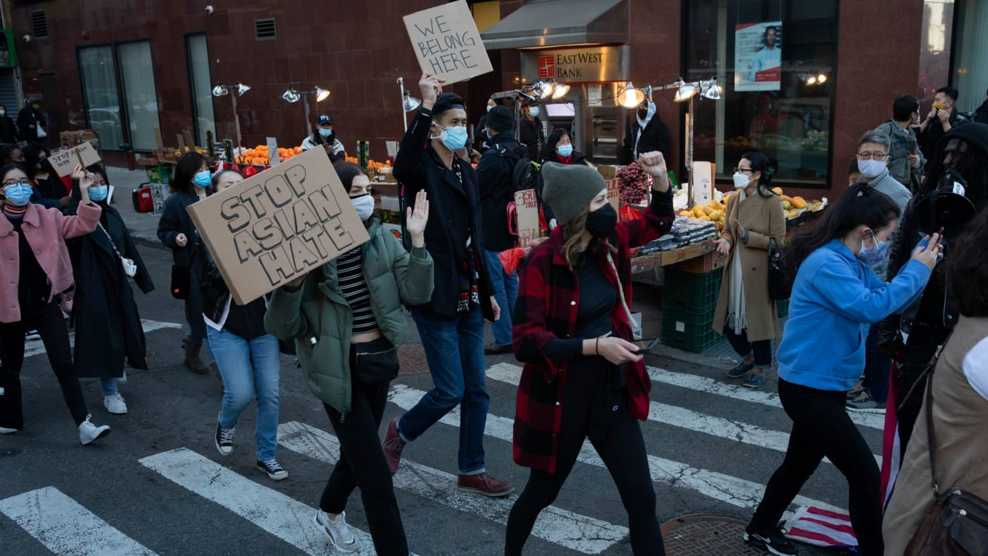 An anti Asian hate protest takes place in New York.