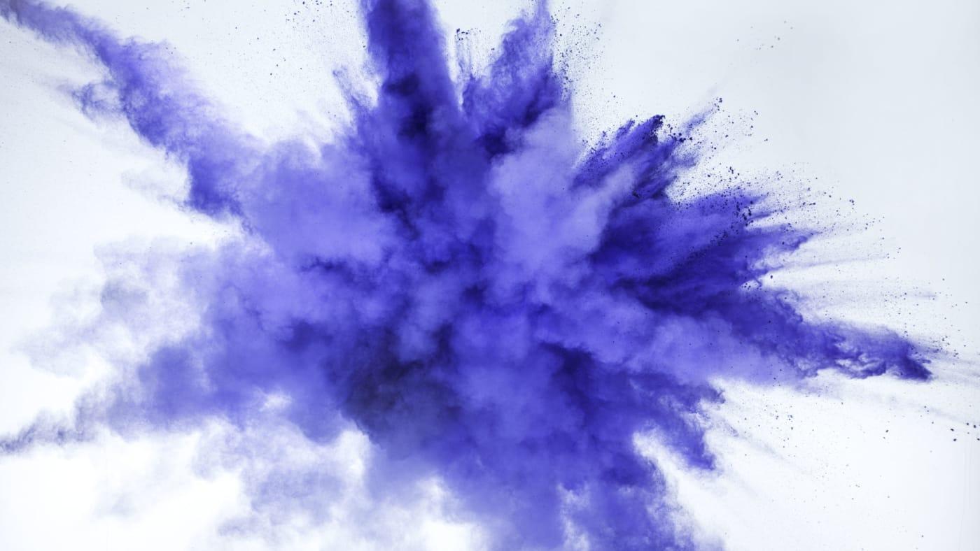 Blue chalk explosion