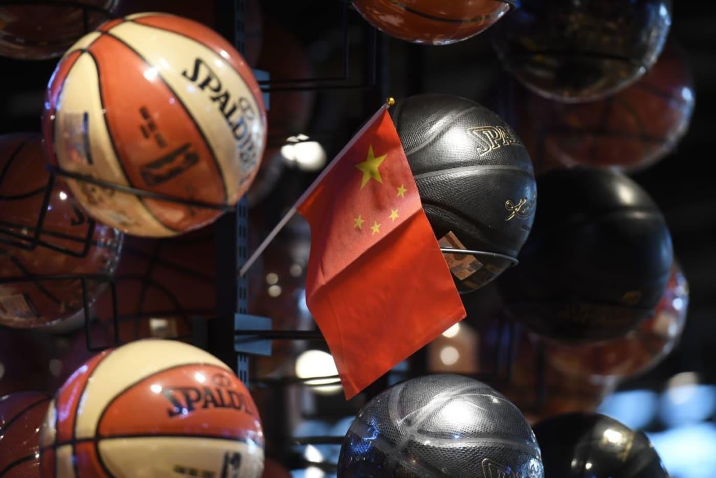 China Flag NBA Basketablls 2019 Getty