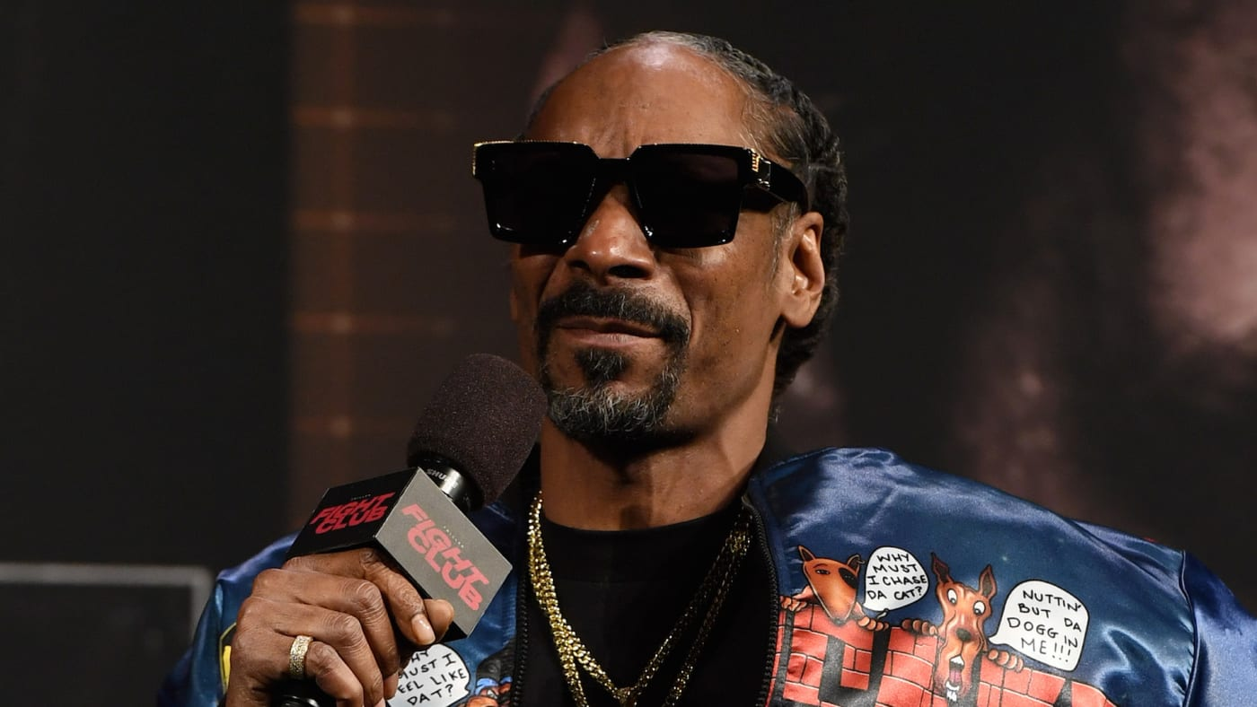 Snoop Dogg speaks during a news conference for Triller Fight Club's inaugural