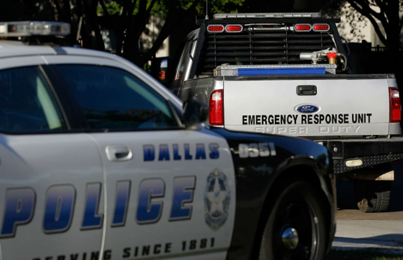A Dallas police car and an emergency response vehicle