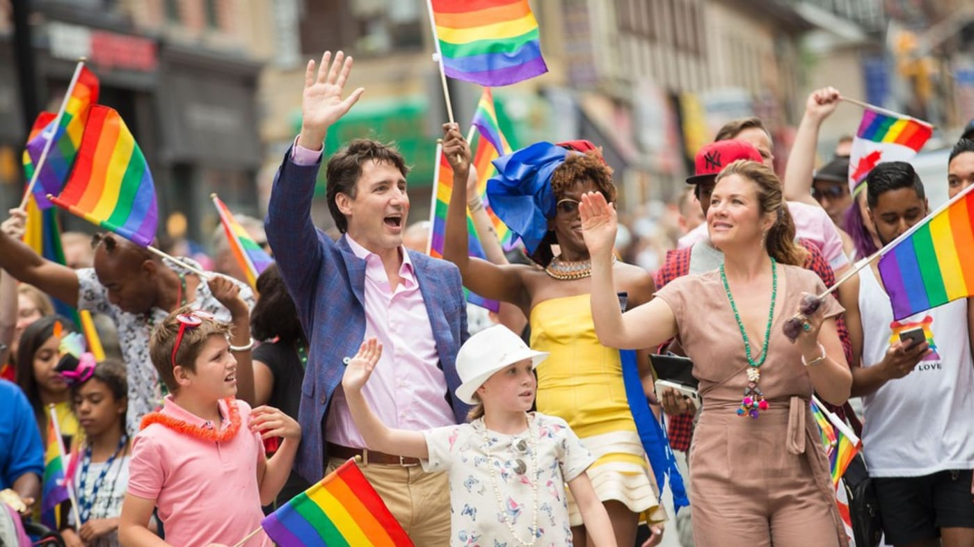 Justin Trudeau Marches With His Family In Toronto Pride Parade