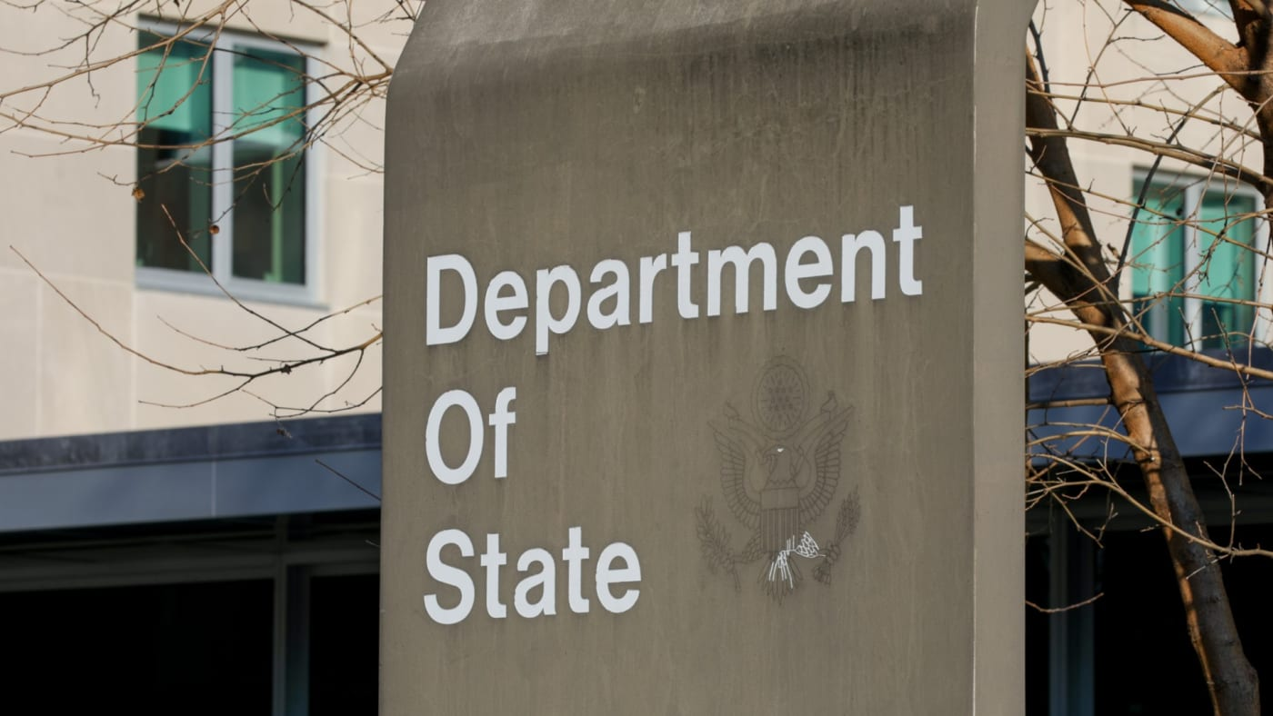 The 23rd Street entrance of the U.S. Department of State building is seen in Washington, DC.