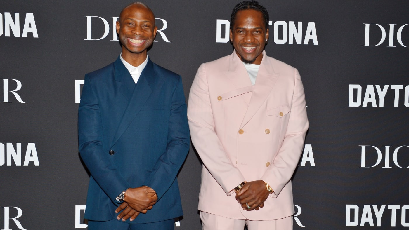 Pusha T and Steven Victor smile side by side at Dior event