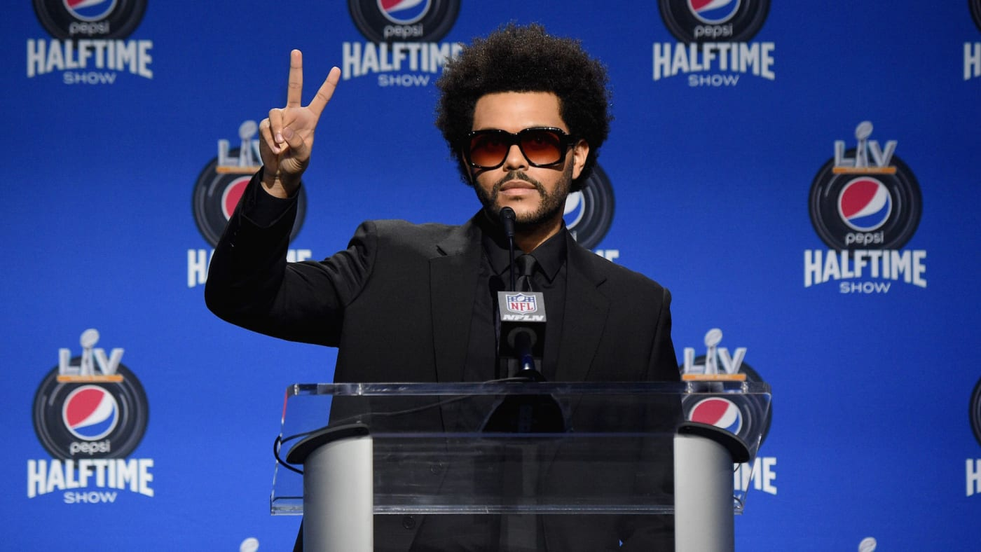 The Weeknd speaks during the Pepsi Super Bowl LV Halftime Show