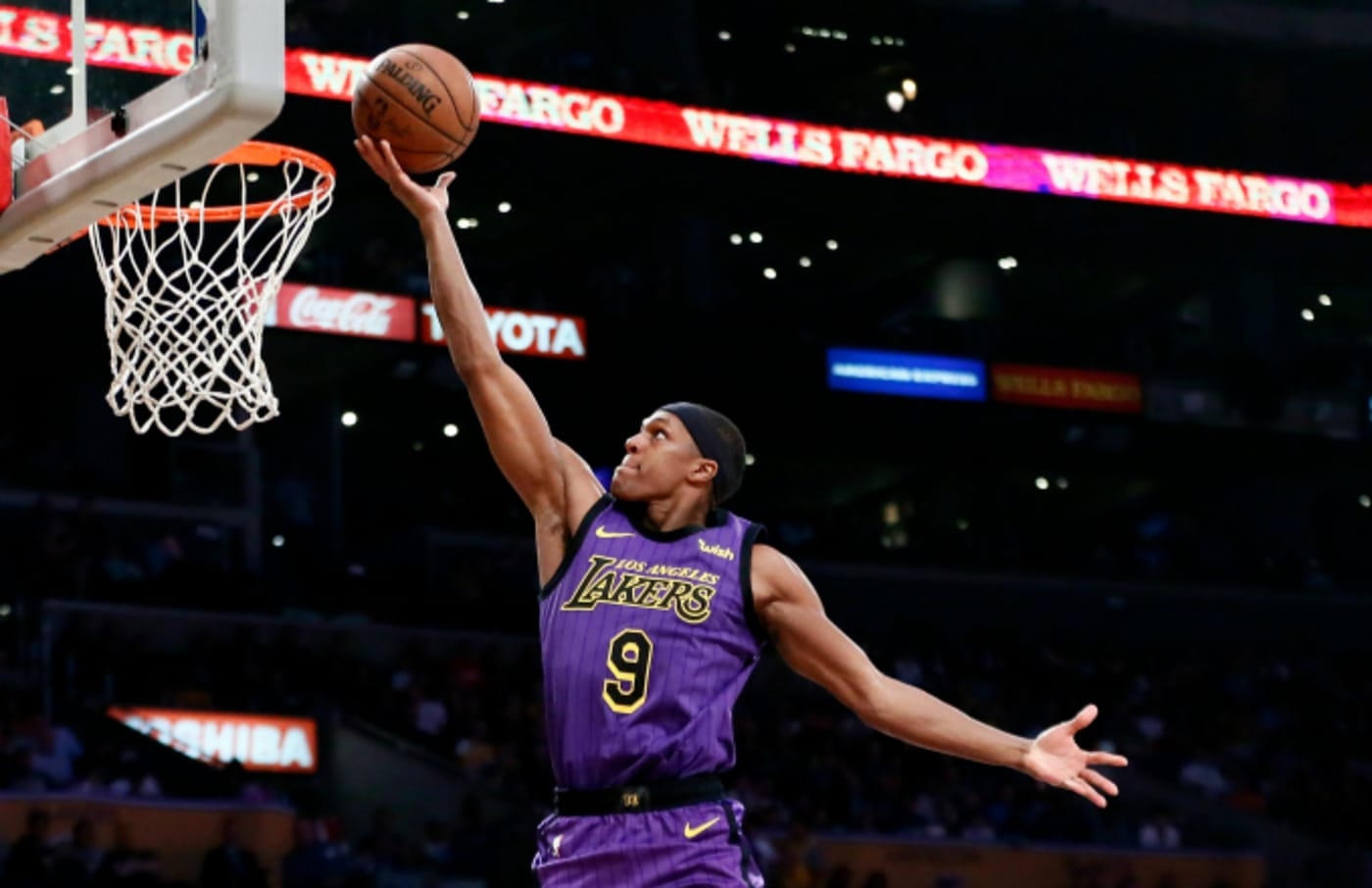 Rajon Rondo #9 of the Los Angeles Lakers shoots the ball against the Charlotte Hornets