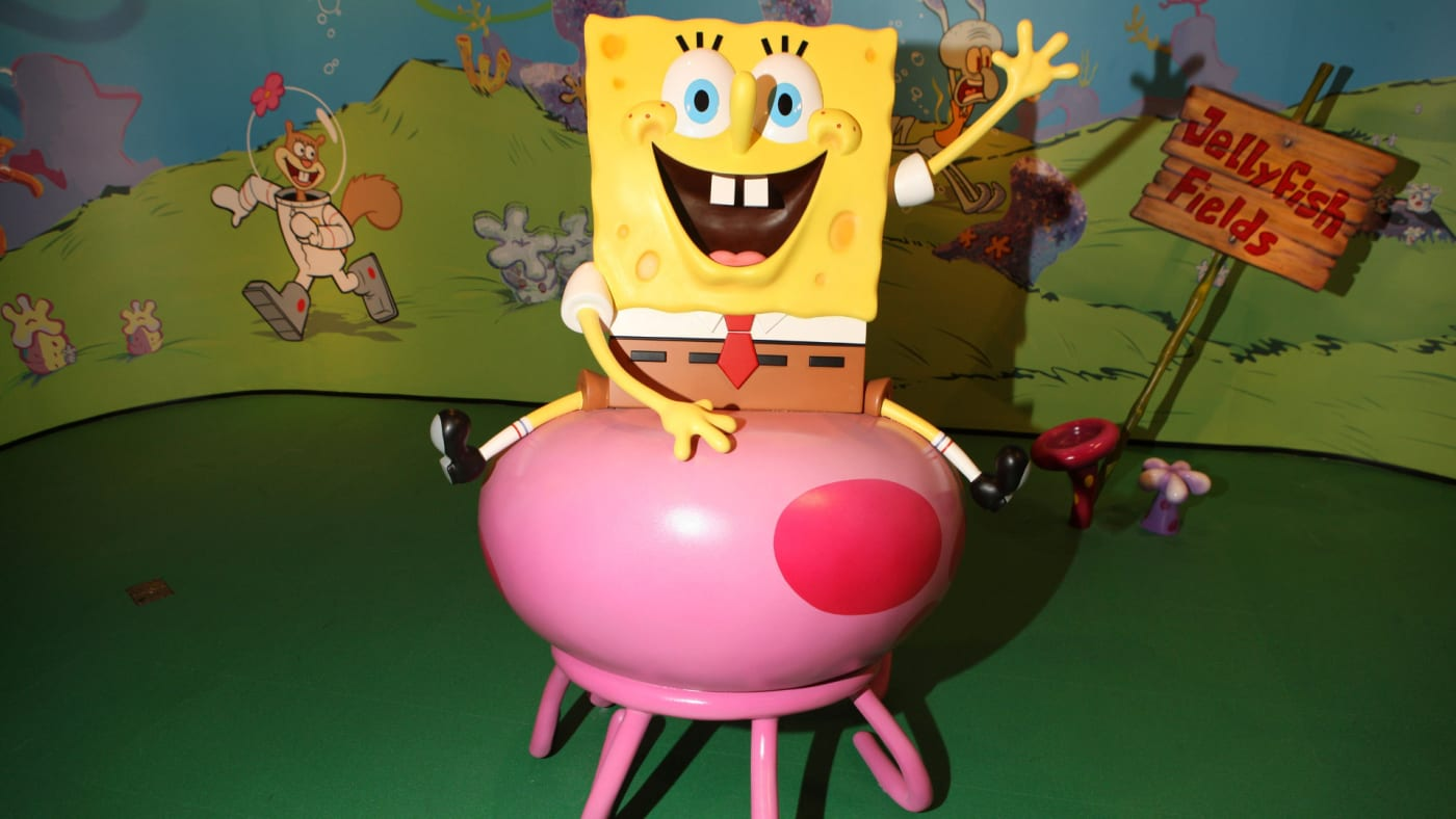 A picture of the Spongebob Squarepants wax figure unveiling at Madame Tussauds.