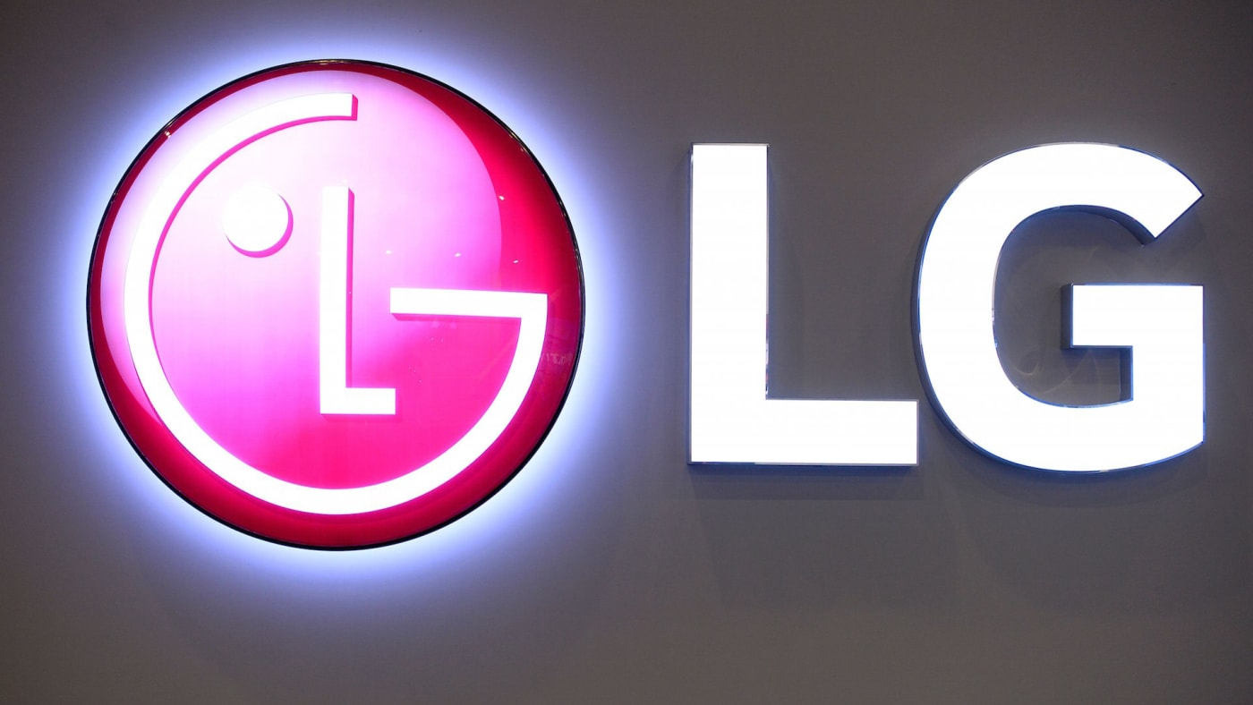 The LG logo is displayed at the Mobile World Congress