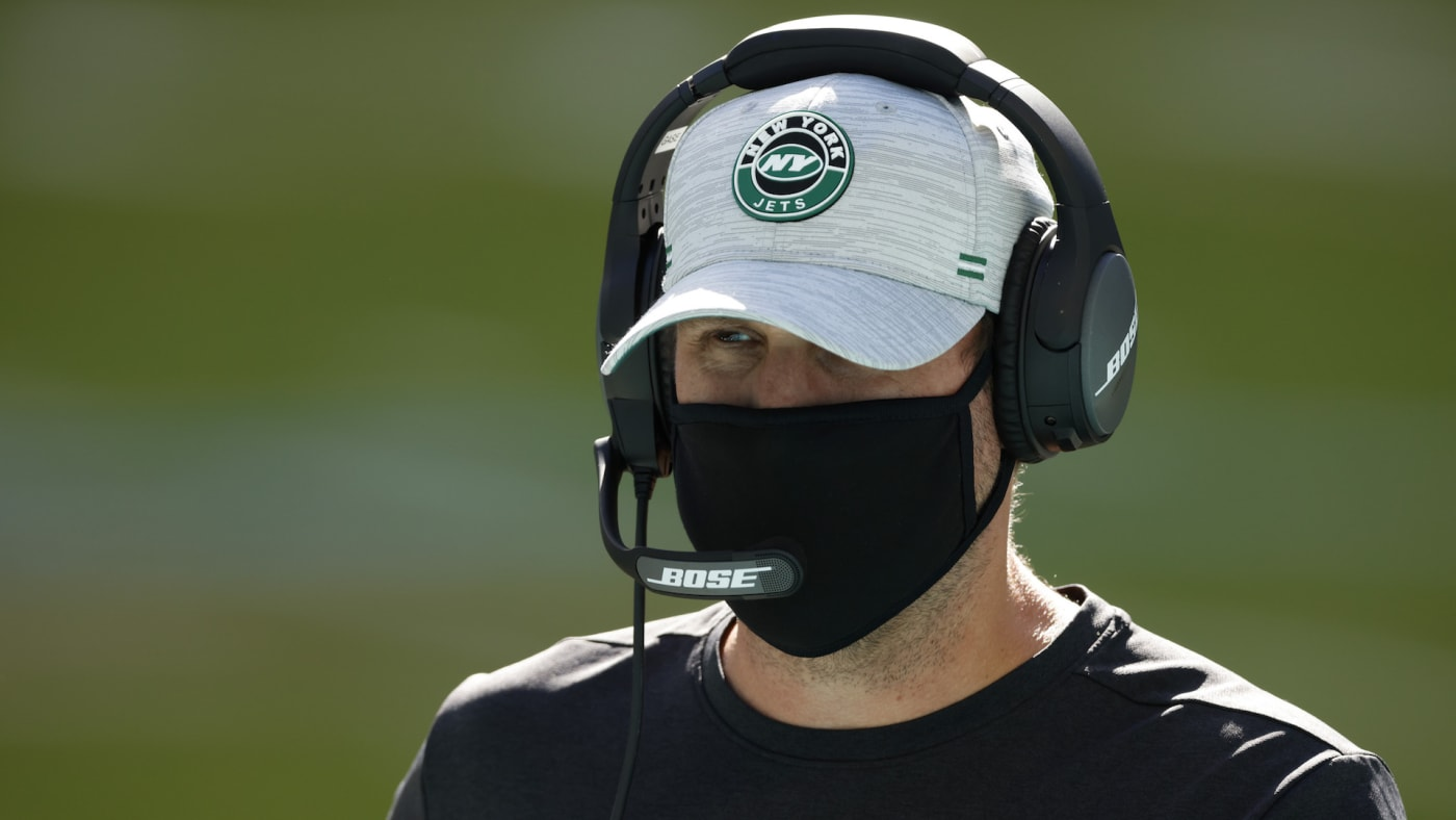 Head coach Adam Gase of the New York Jets looks on
