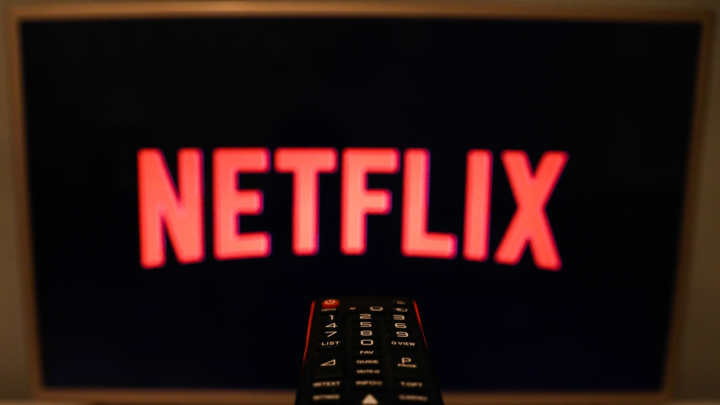 Netflix logo is seen displayed on TV screen in this illustration photo taken in Poland on July 16, 2020.