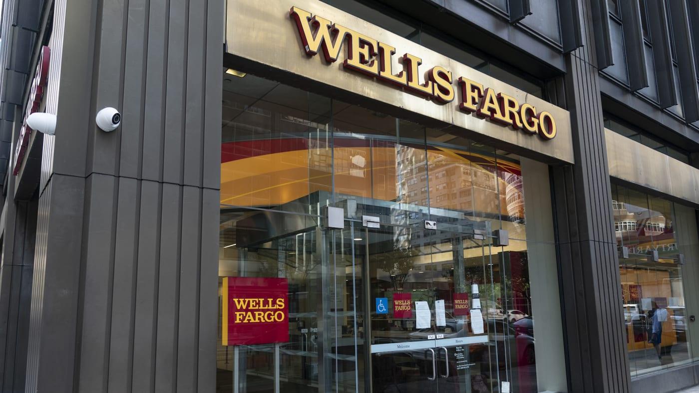 View of Wells Fargo Bank closed branch in Manhattan.