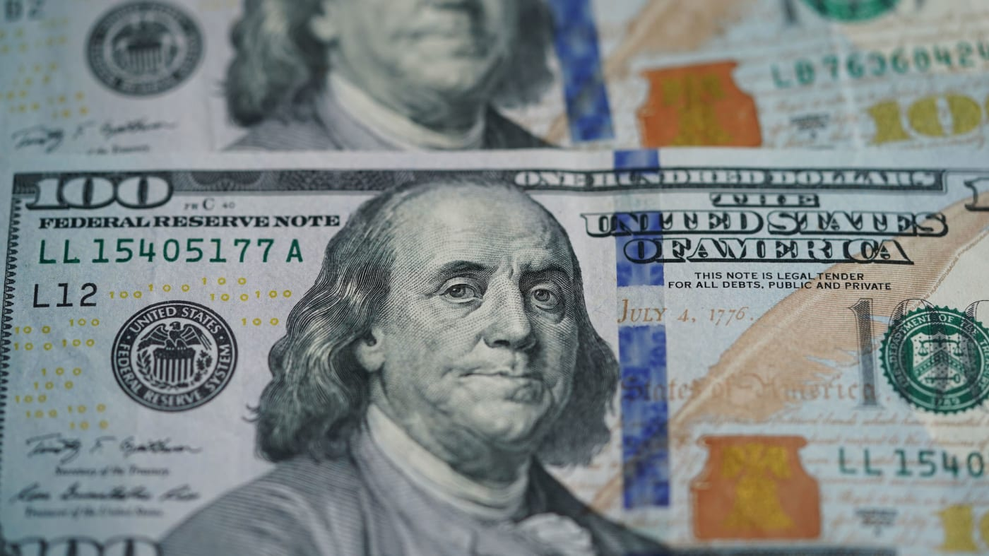 Photo taken on March 17, 2020 shows U.S. dollar banknotes