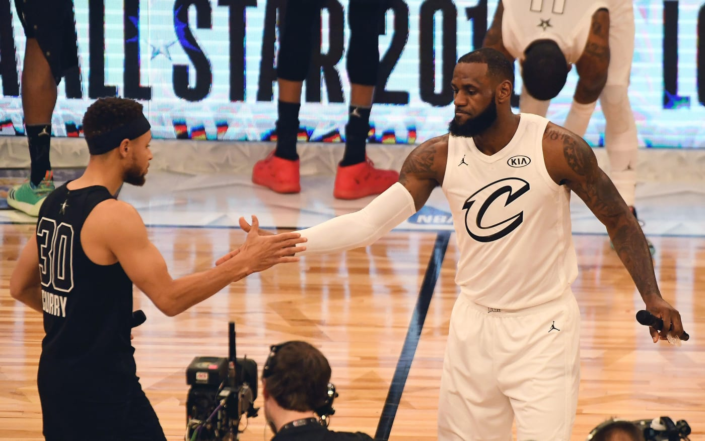 LeBron Steph NBA All Star Game 2018 Tip