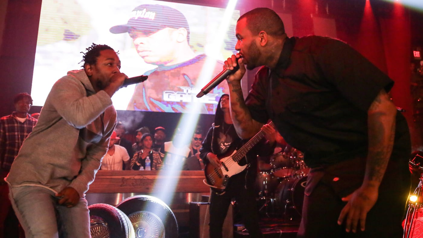 """Kendrick Lamar and The Game on stage at """"The Documentary"""" 10th anniversary party"""