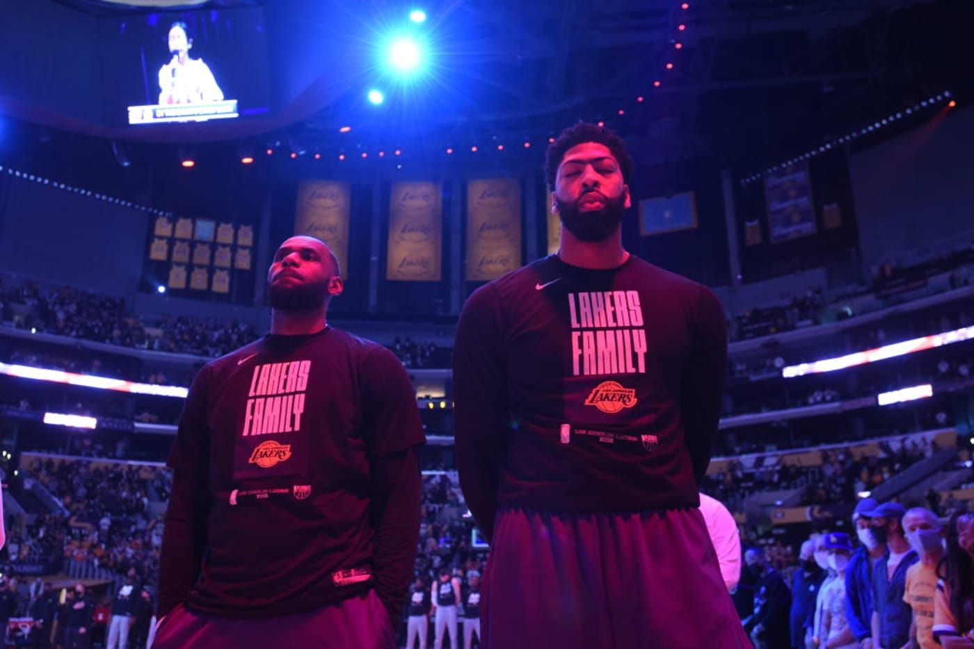 LeBron James Anthony Davis Lakers Suns Banners 2021