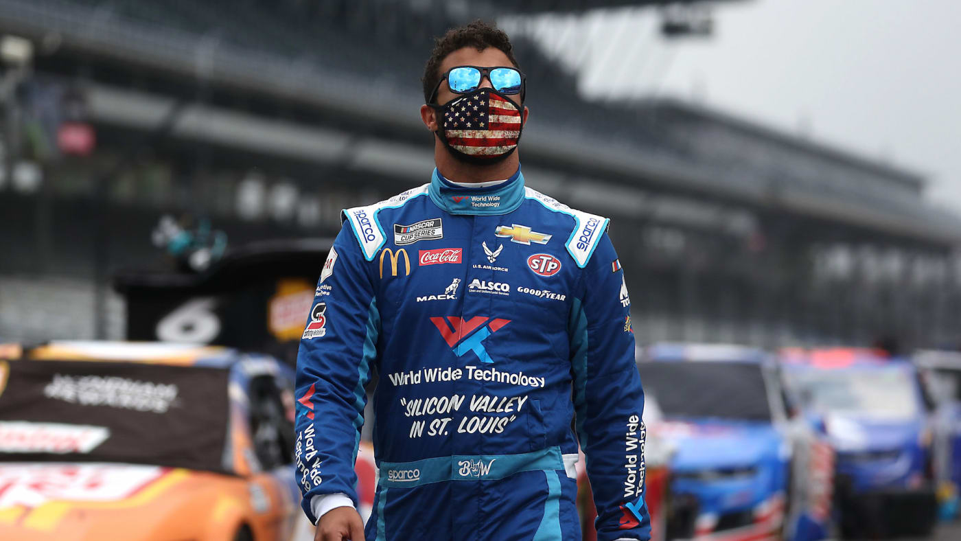 Bubba Wallace, driver of the #43 World Wide Technology Chevrolet