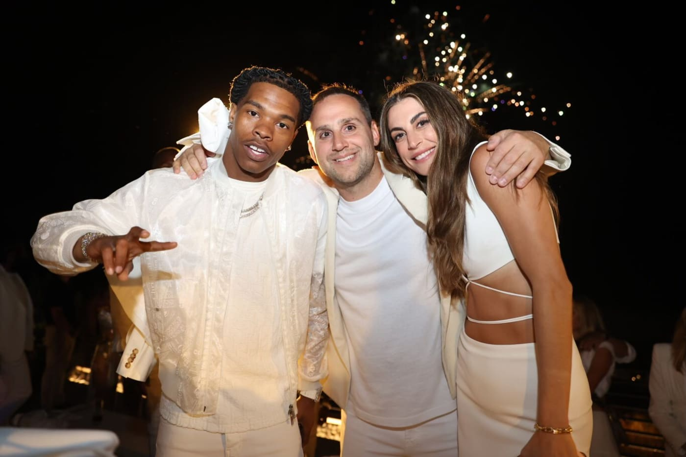 Lil Baby, Michael Rubin and Camille Fishel