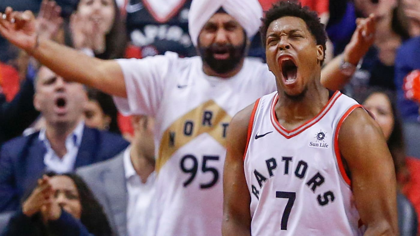 Kyle Lowry screams at game in Toronto's Scotiabank Arena while Superfan Nav Bhatia cheers on