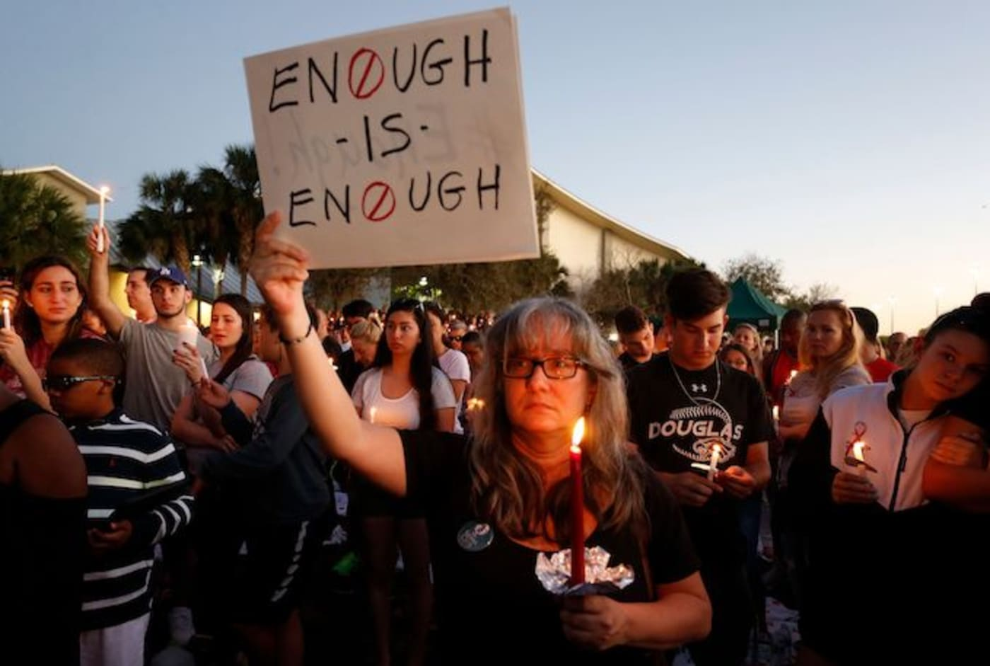 A vigil is held for the victims of the Parkland high school shooting.