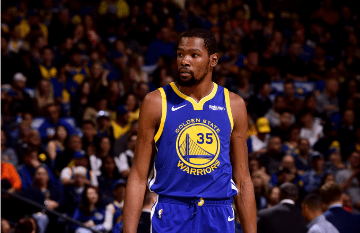 Kevin Durant #35 of the Golden State Warriors looks on