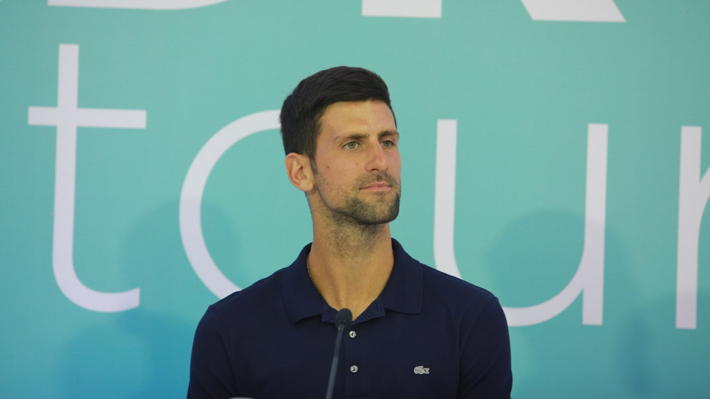 Novak Djokovic of Serbia is seen during a press conference