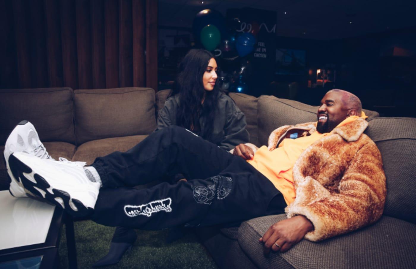 Kim Kardashian West and Kanye West attend the Travis Scott Astroworld Tour