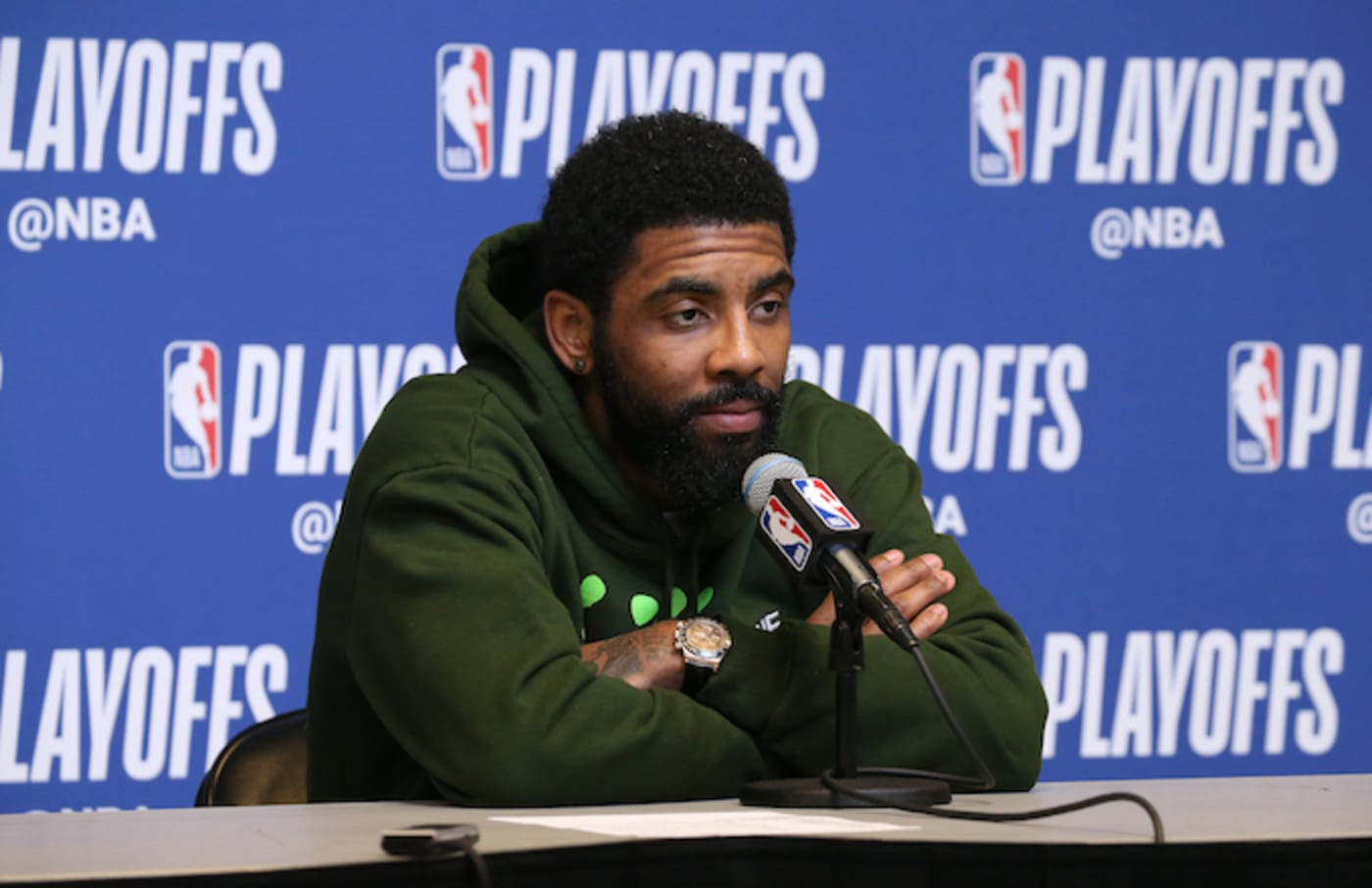 Kyrie Irving speaks to the media Game Five of the Eastern Conference Semifinals.