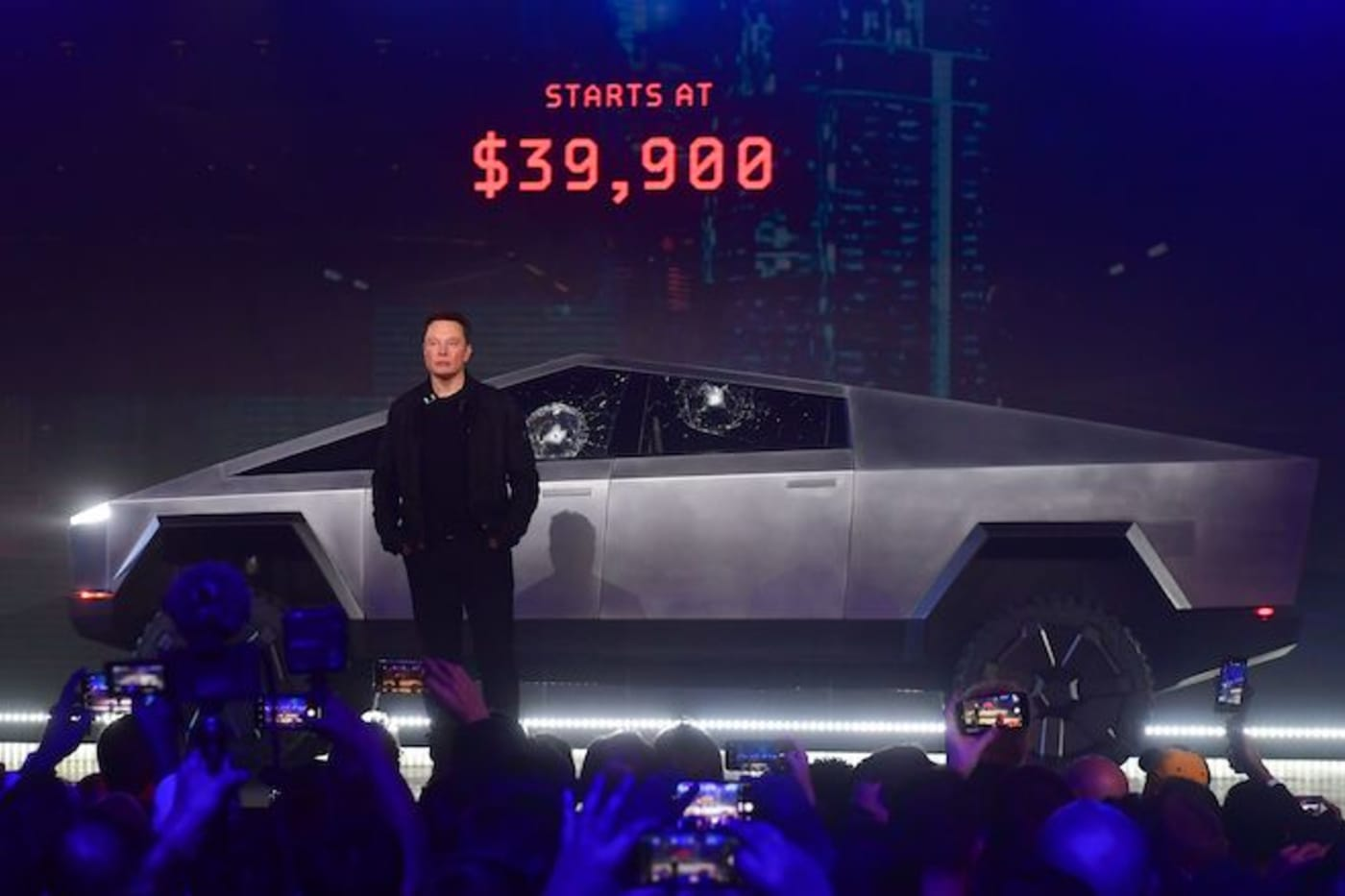 Tesla co founder and CEO Elon Musk unveils all electric battery powered Tesla's Cybertruck.