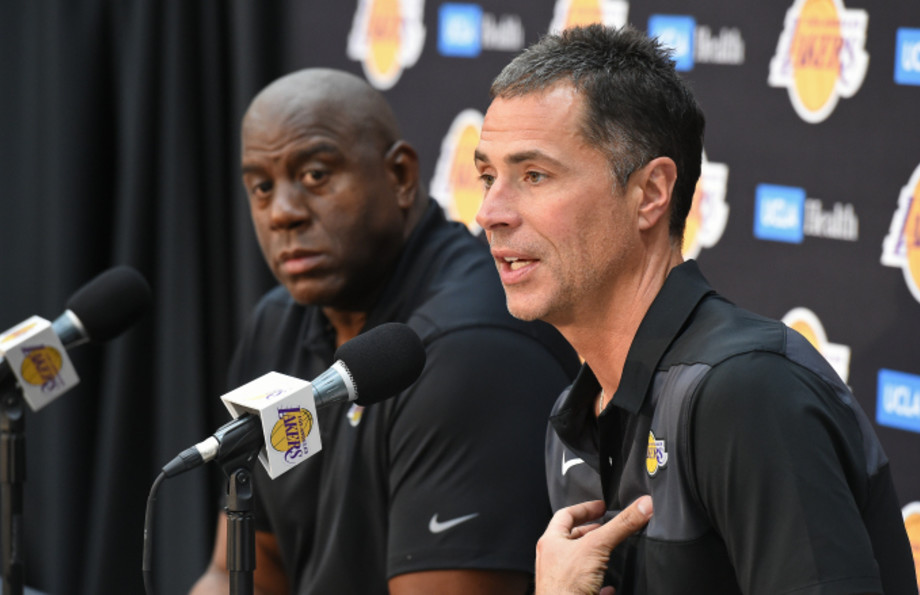 """Lakers President of Basketball Operations Earvin """"Magic"""" Johnson and General Manager Rob Pelinka"""