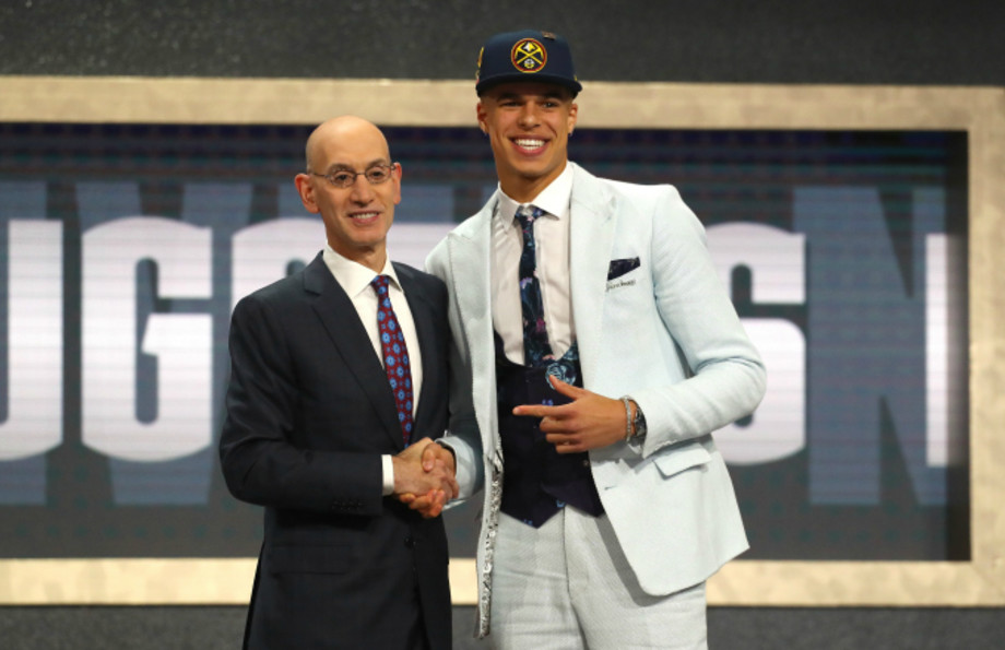 Michael Porter Jr. poses with NBA Commissioner Adam Silver