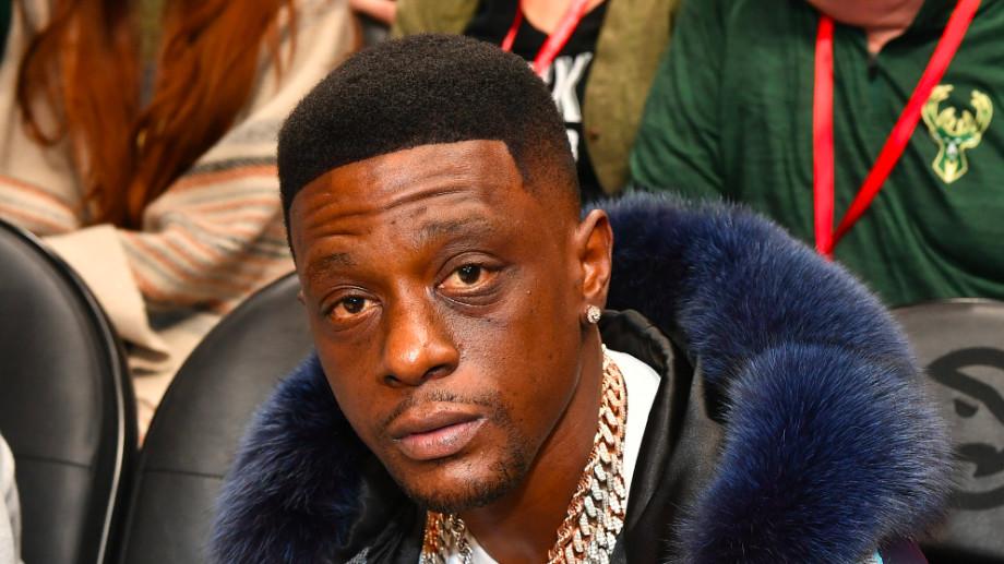 Rapper Lil Boosie attends Milwaukee Bucks vs Atlanta Hawks game