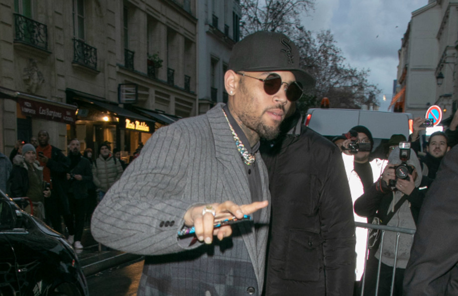Rapper Chris Brown is seen on January 17, 2019 in Paris, France