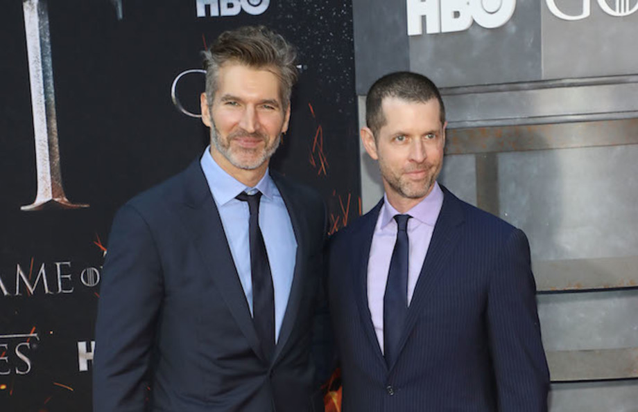 "David Benioff and D.B. Weiss attend the Season 8 premiere of ""Game of Thrones."""