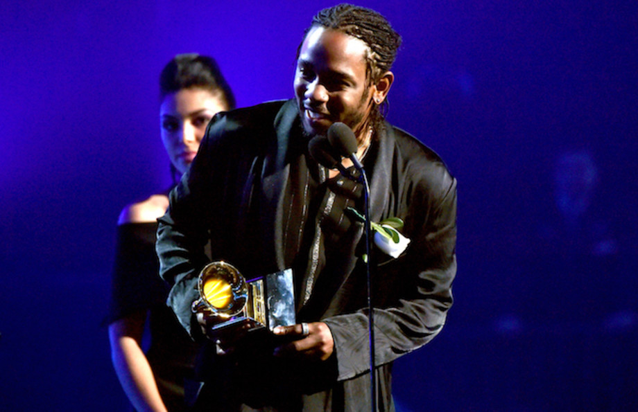 Kendrick Lamar accepts the award for Best Rap Album during the 60th Annual GRAMMY.
