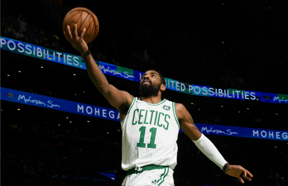 Kyrie Irving #11 of the Boston Celtics shoots the ball against the Miami Heat