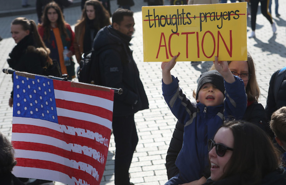 Demonstrators protest at the March for our Lives demonstration.