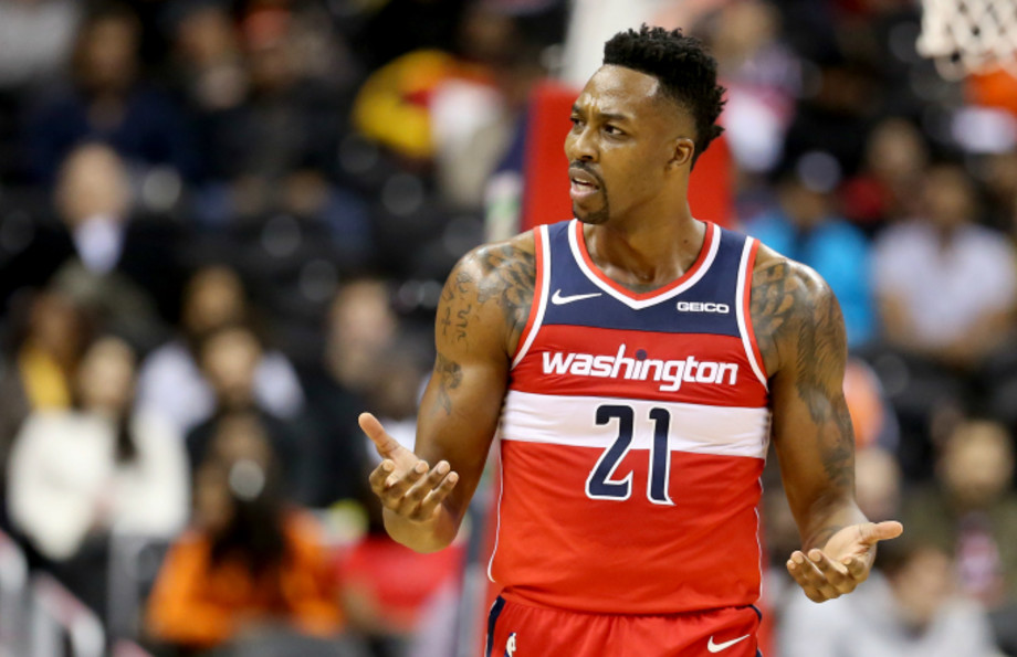 Dwight Howard #21 of the Washington Wizards reacts after a play