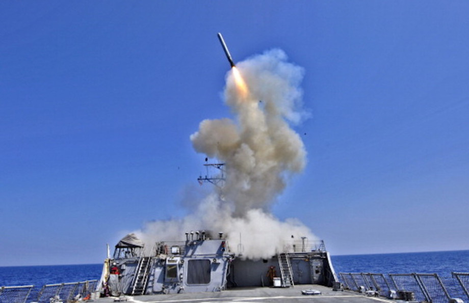 U.S. Navy guided-missile destroyer USS Barry (DDG 52) launches a Tomahawk cruise missile