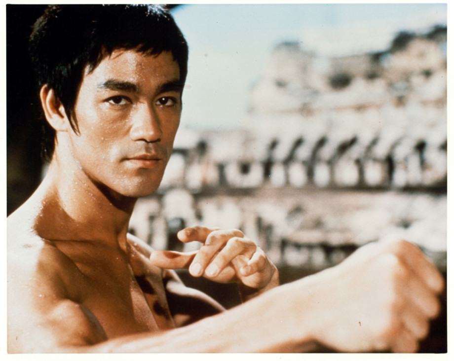 Bruce Lee in a martial arts position in a scene from the film 'Enter The Dragon', 1973