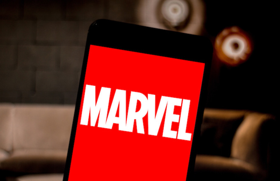 In this photo illustration a Marvel seen displayed on a smartphone.