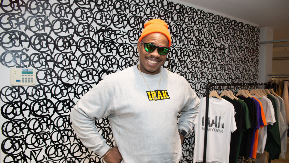 Kunle F. Martins, Aka Earsnot, at his IRAK Installation in Dover Street Market New York