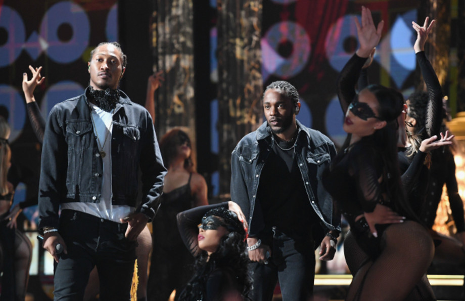 Future (L) and Kendrick Lamar perform onstage at 2017 BET Awards