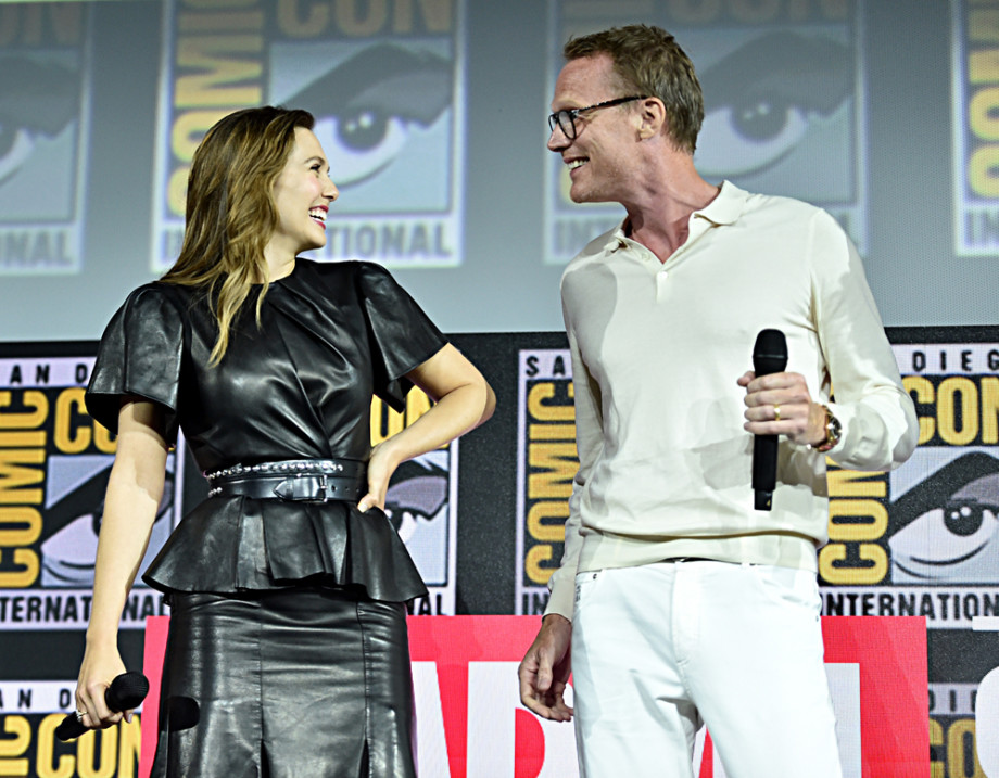 Elizabeth Olsen and Paul Bettany of Marvel Studios' 'WandaVision' at the Comic-Con 2019