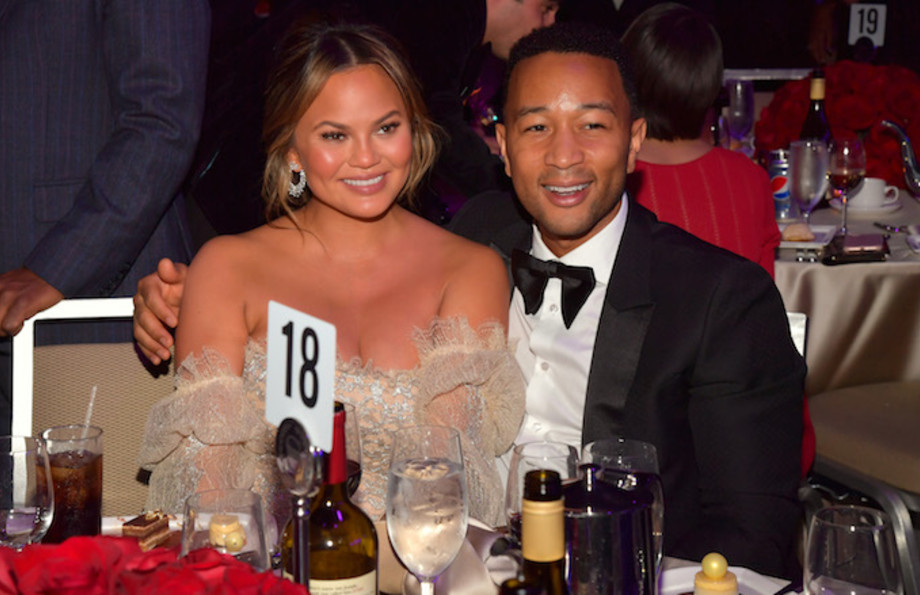 Model Chrissy Teigen and John Legend at the Clive Davis and Recording Academy Pre-Grammy Gala.
