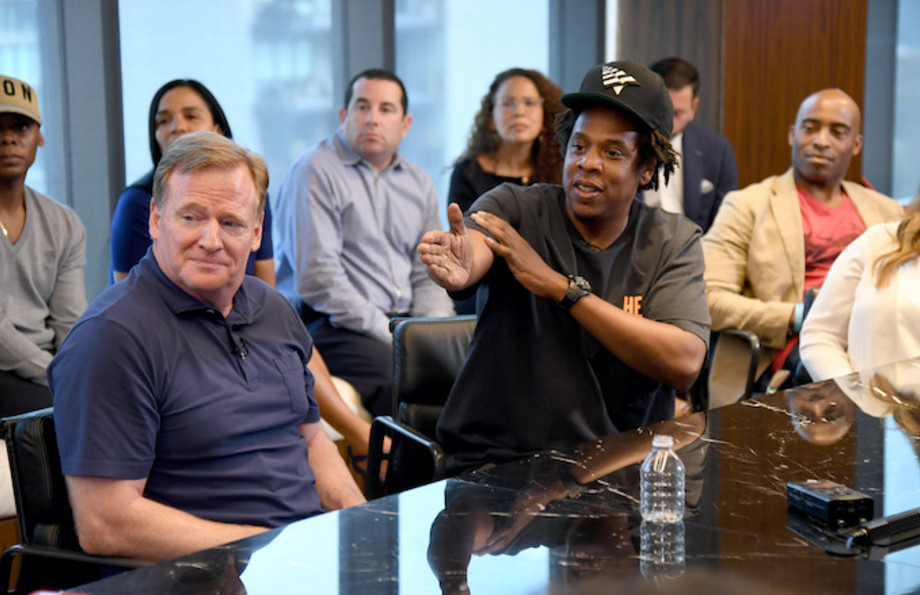 Roger Goodell and Jay-Z at the Roc Nation and NFL Partnership Announcement