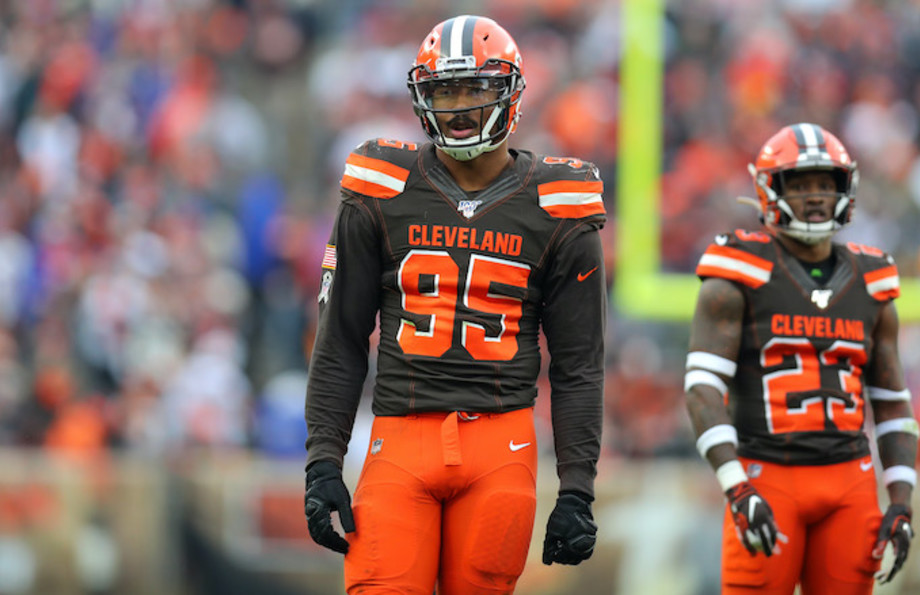 Browns Myles Garrett on the field during the fourth quarter.
