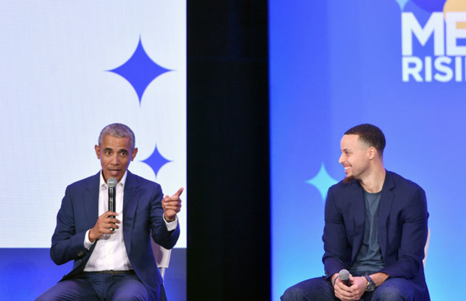 Barack Obama and Stephen Curry at a 'My Brother's Keeper' event